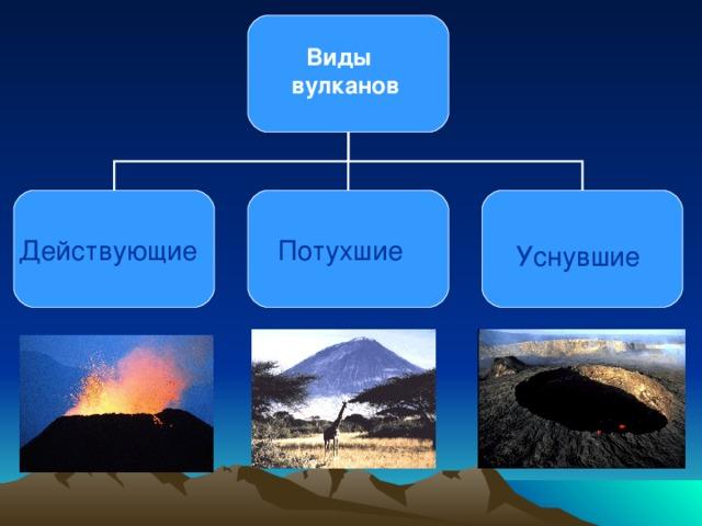 Виды вулканов Действующие  Потухшие  Уснувшие