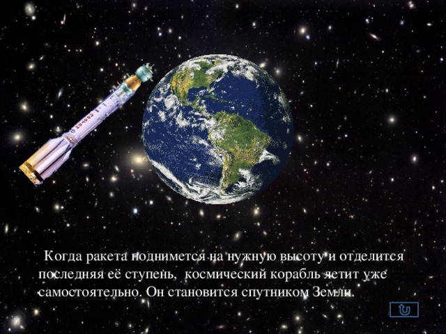 Когда ракета поднимется на нужную высоту и отделится последняя её ступень, космический корабль летит уже самостоятельно. Он становится спутником Земли.