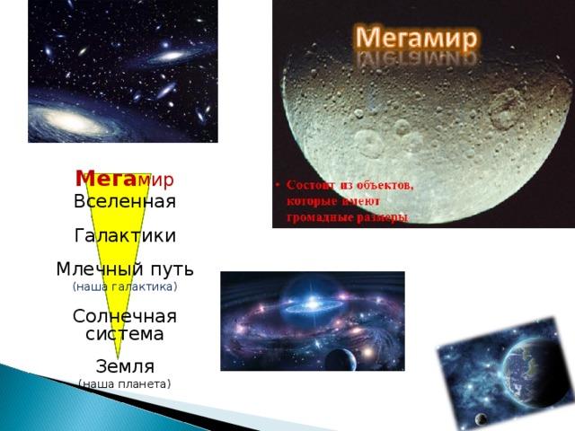 Мега мир Вселенная Галактики Млечный путь (наша галактика) Солнечная система Земля (наша планета)