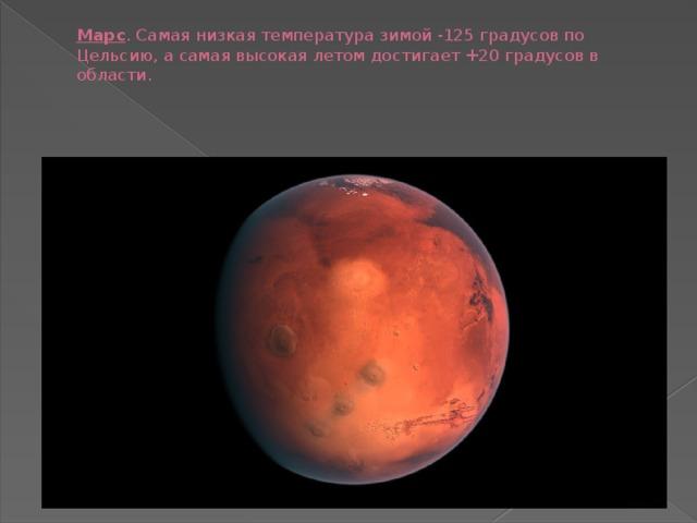 Марс . Самая низкая температура зимой -125 градусов по Цельсию, а самая высокая летом достигает +20 градусов в области.