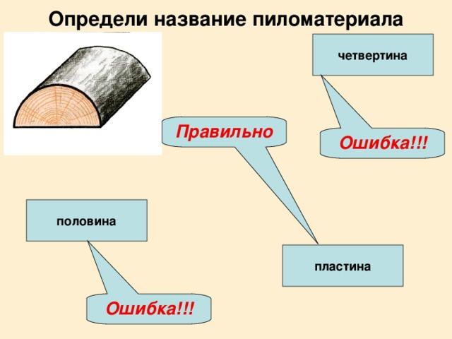 Определи название пиломатериала четвертина Правильно Ошибка!!! половина пластина Ошибка!!!
