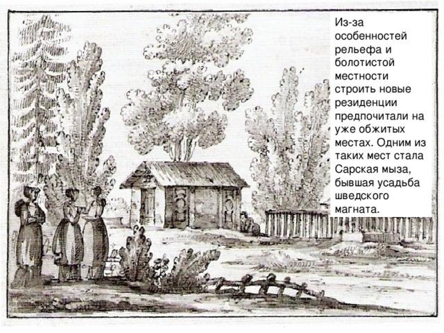 Из-за особенностей рельефа и болотистой местности строить новые резиденции предпочитали на уже обжитых местах. Одним из таких мест стала Сарская мыза, бывшая усадьба шведского магната.