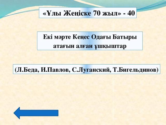 «Ұлы Жеңіске 70 жыл» - 40 Екі мәрте Кеңес Одағы Батыры атағын алған ұшқыштар (Л.Беда, И.Павлов, С.Луганский, Т.Бигельдинов)