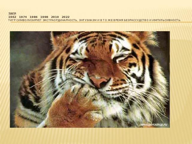 Тигр  1962  1974  1986  1998  2010  2022  Тигр символизирует экстраординарность, энтузиазм и в то же время безрассудство и импульсивность.
