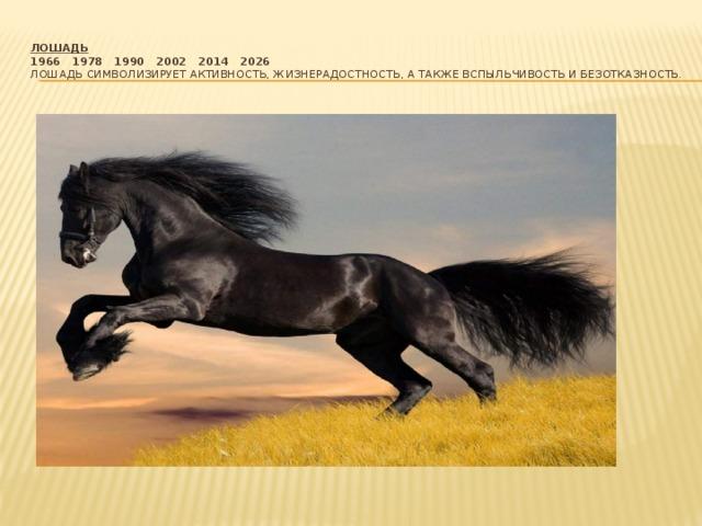 Лошадь  1966  1978  1990  2002  2014  2026  Лошадь символизирует активность, жизнерадостность, а также вспыльчивость и безотказность.
