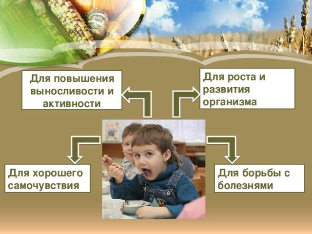 Для роста и развития организма Для повышения выносливости и активности Для хорошего самочувствия Для борьбы с болезнями