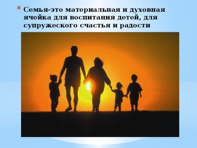 Семья-это материальная и духовная ячейка для воспитания детей, для супружеского счастья и радости
