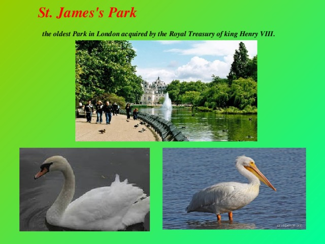 St. James's Park  the oldest Park in London acquired by the Royal Treasury of king Henry VIII.