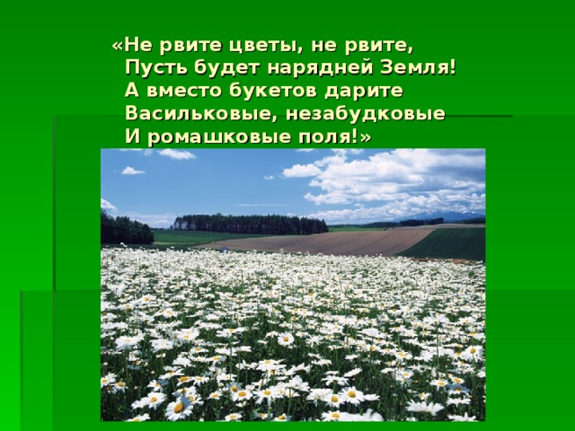 «Не рвите цветы, не рвите,  Пусть будет нарядней Земля!  А вместо букетов дарите  Васильковые, незабудковые  И ромашковые поля!»