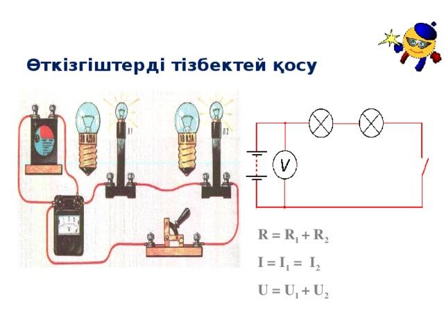 Өткізгіштерді тізбектей қосу R = R 1 + R 2  I = I 1 = I 2  U = U 1 + U 2
