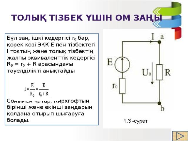 ТОЛЫҚ Тізбек үшін Ом заңы Бұл заң, ішкі кедергісі r 0 бар, қорек көзі ЭҚК Е пен тізбектегі I токтың және толық тізбектің жалпы эквиваленттік кедергісі R Э =r 0 +Rарасындағы тәуелділікті анықтайды Сонымен қатар, Кирхгофтың бірінші және екінші заңдарын қолдана отырып шығаруға болады.