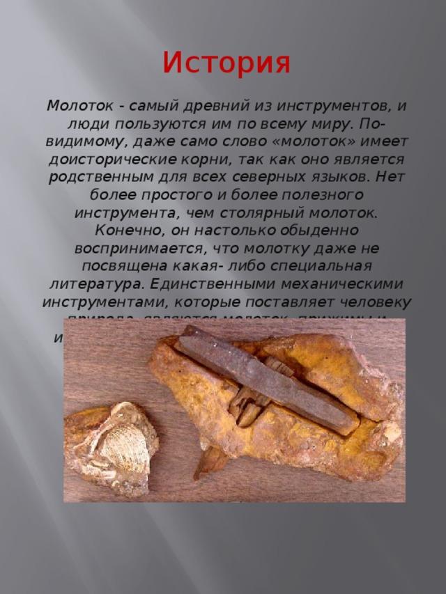 История Молоток - самый древний из инструментов, и люди пользуются им по всему миру. По-видимому, даже само слово «молоток» имеет доисторические корни, так как оно является родственным для всех северных языков. Нет более простого и более полезного инструмента, чем столярный молоток. Конечно, он настолько обыденно воспринимается, что молотку даже не посвящена какая- либо специальная литература. Единственными механическими инструментами, которые поставляет человеку природа, являются молоток, прижимы и инструмент для скобления или царапания.