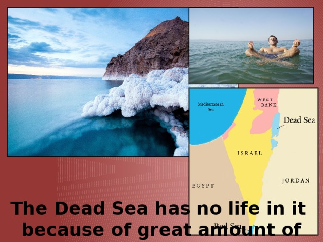 The Dead   Sea has no life in it  because of great amount of salt in it.