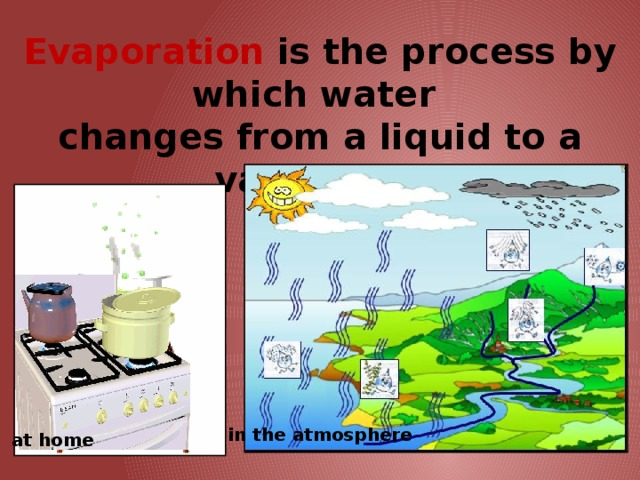Evaporation is the process by which water  changes from a liquid to a vapor/gas. in the atmosphere at home