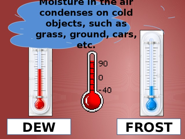 Moisture in the air condenses on cold objects, such as grass, ground, cars, etc. DEW FROST