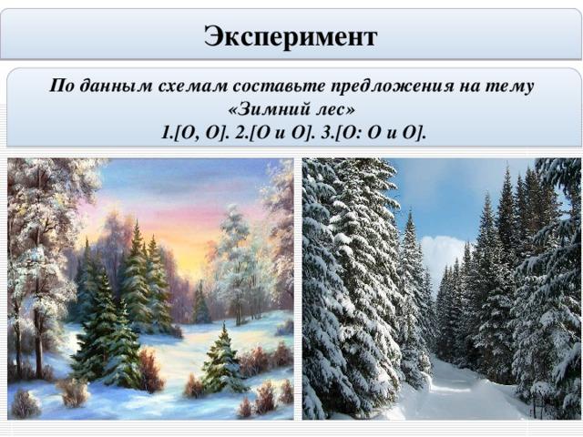 Эксперимент По данным схемам составьте предложения на тему «Зимний лес» 1.[O, O]. 2.[O и O]. 3.[O: O и O].