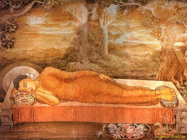 Так царевич Сиддхартха Гаутама стал Буддой (Просветленным). Став Просветленным, царевич начал странствовать и проповедовать свое учение, которое назвали позднее буддизмом. У Будды появились ученики. Через много лет он начал стареть. Тогда он простился со своими учениками, лег в позу льва, погрузился в созерцание и вступил в великую и вечную нирвану, в которой нет страданий.