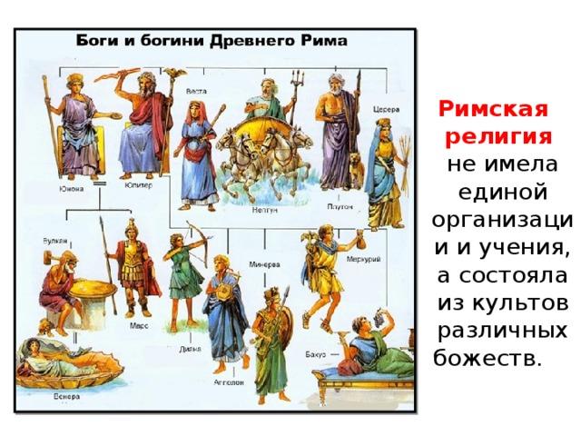 Римская религия   не имела единой организации и учения, а состояла из культов различных божеств.