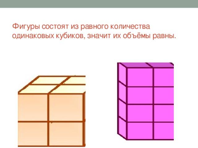 Фигуры состоят из равного количества одинаковых кубиков, значит их объёмы равны.
