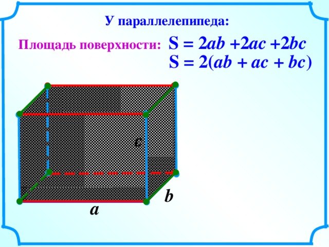 У параллелепипеда: S = 2 ab +2 ac +2 bc Площадь поверхности: S = 2( ab + ac + bc ) c  b  a  8