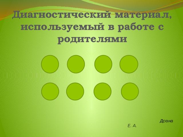 Диагностический материал, используемый в работе с родителями  Драна Е. А.