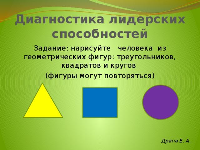 Диагностика лидерских способностей Задание: нарисуйте человека из геометрических фигур: треугольников, квадратов и кругов (фигуры могут повторяться) Драна Е. А.