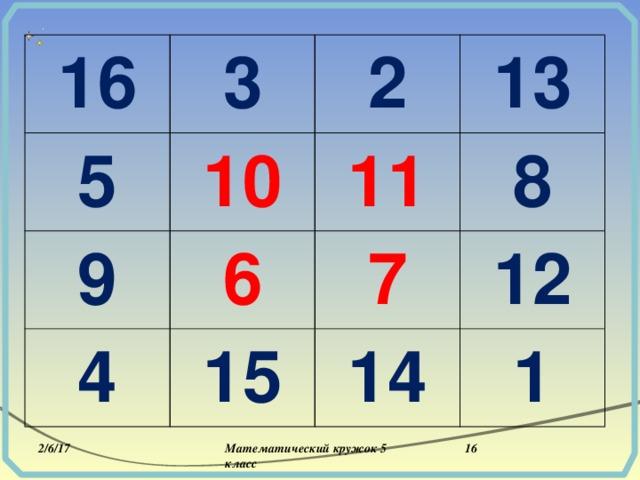 16 3 5 2 9 10 13 4 6 11 8 7 15 12 14 1 2/6/17  Математический кружок 5 класс