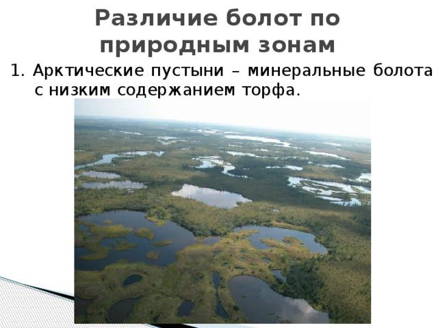 Различие болот по природным зонам 1. Арктические пустыни – минеральные болота с низким содержанием торфа.