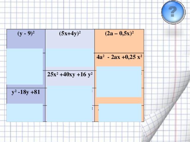 Дұрыс жауапты таңда (y - 9) 2 (5x+4y) 2 y 2 -9y +81 25x 2 - 20xy +16 y 2 y 2 + 18y +81 (2a – 0,5x) 2  4a 2 - 2ax +0,25 x 2 25x 2 +40xy +16 y 2 y 2 -18y +81  25x 2 +20xy +16 y 2 4a 2 + 2ax +0,25 x 2 y 2 + 9y +81 25x 2 - 40xy +16 y 2 4a 2 - ax +0,25 x 2 4a 2 + ax +0,25 x 2