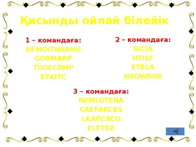 Қисынды ойлай білейік 2 – командаға: SICIA HTISF ETBLA NSOWDIW 1 – командаға: NFMOITNRANO GORMARP TUOECRMP ETKITC 3 – командаға: NEMLGTENA CAEPAKCBS LKAPCSCO ELETDE
