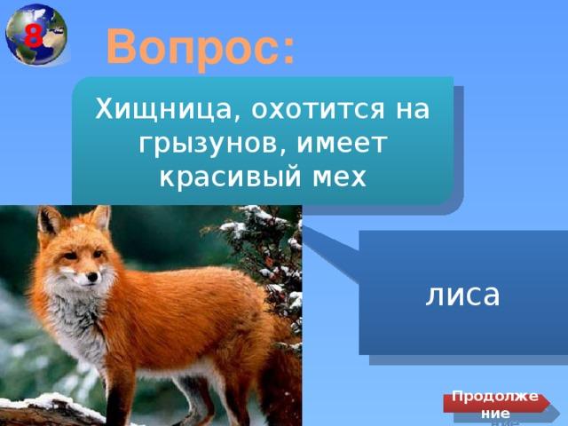 8 Вопрос: Хищница, охотится на грызунов, имеет красивый мех лиса Продолжение