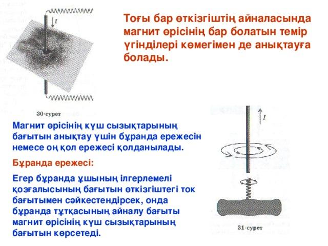 Тоғы бар өткізгіштің айналасында магнит өрісінің бар болатын темір үгінділері көмегімен де анықтауға болады. Магнит өрісінің күш сызықтарының бағытын анықтау үшін бұранда ережесін немесе оң қол ережесі қолданылады. Бұранда ережесі: Егер бұранда ұшының ілгерлемелі қозғалысының бағытын өткізгіштегі ток бағытымен сәйкестендірсек, онда бұранда тұтқасының айналу бағыты магнит өрісінің күш сызықтарының бағытын көрсетеді.