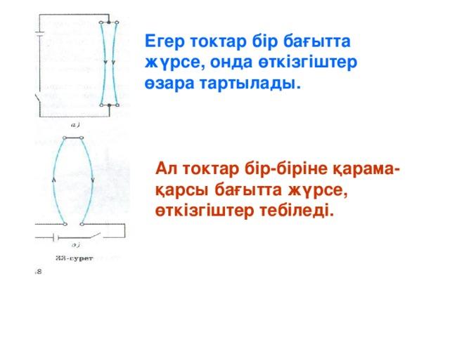 Егер токтар бір бағытта жүрсе, онда өткізгіштер өзара тартылады. Ал токтар бір-біріне қарама-қарсы бағытта жүрсе, өткізгіштер тебіледі.