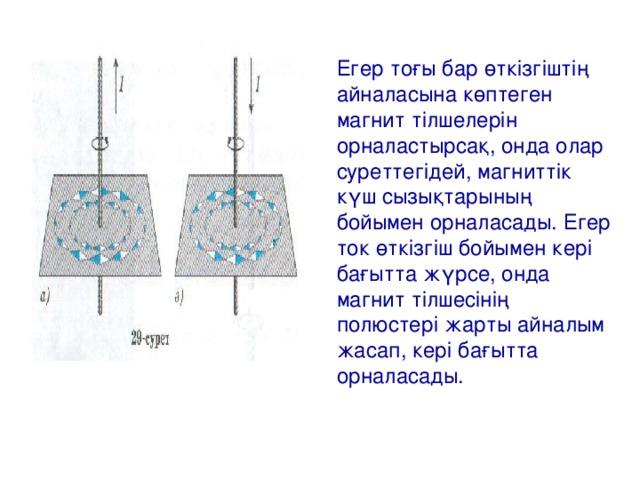 Егер тоғы бар өткізгіштің айналасына көптеген магнит тілшелерін орналастырсақ, онда олар суреттегідей, магниттік күш сызықтарының бойымен орналасады. Егер ток өткізгіш бойымен кері бағытта жүрсе, онда магнит тілшесінің полюстері жарты айналым жасап, кері бағытта орналасады.