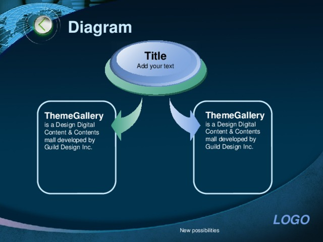 Diagram Title Add your text ThemeGallery  is a Design Digital Content & Contents mall developed by Guild Design Inc. ThemeGallery  is a Design Digital Content & Contents mall developed by Guild Design Inc. New possibilities