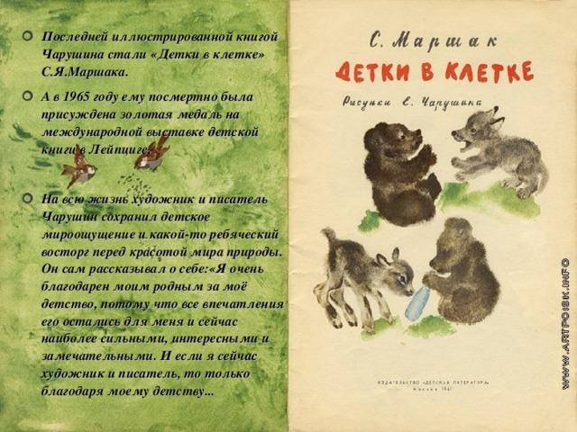 Последней иллюстрированной книгой Чарушина стали «Детки в клетке» С.Я.Маршака. А в 1965 году ему посмертно была присуждена золотая медаль на международной выставке детской книги в Лейпциге.  На всю жизнь художник и писатель Чарушин сохранил детское мироощущение и какой-то ребяческий восторг перед красотой мира природы. Он сам рассказывал о себе:«Я очень благодарен моим родным за моё детство, потому что все впечатления его остались для меня и сейчас наиболее сильными, интересными и замечательными. И если я сейчас художник и писатель, то только благодаря моему детству...