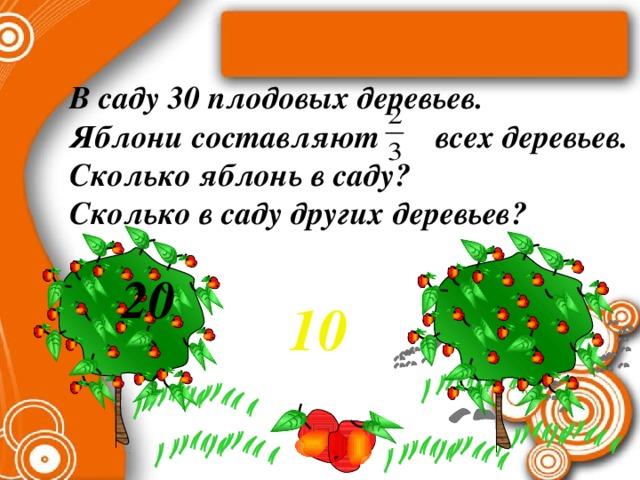 В саду 30 плодовых деревьев. Яблони составляют всех деревьев. Сколько яблонь в саду? Сколько в саду других деревьев?  20 10 Математика 6 класс. Н.Я.Виленкин. № 545.
