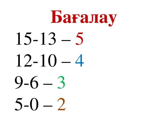 Бағалау 15-13 – 5 12-10 – 4 9-6 – 3  5-0 – 2
