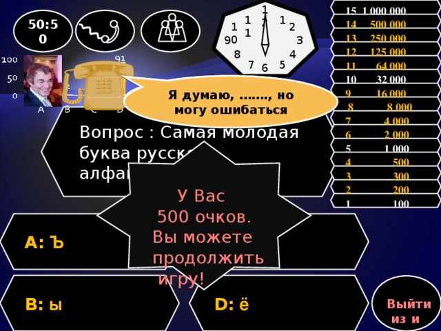12 15 1 000 000 1 11 50:50 14 500 000 10 2 13 250 000 9 3 12 125 000 8 4 11 64 000 5 7 6           10 32 000 Зал считает, ……, но зал может ошибаться Я думаю, ……., но могу ошибаться 9 16 000  8 8 000 Вопрос : Самая молодая буква русского алфавита? 7 4 000 6 2 000 5 1 000 У Вас 500 очков. Вы можете продолжить игру! 4 500 3 300 2 200 1 100 A: Ъ C: я D: ё B: ы Выйти из игры