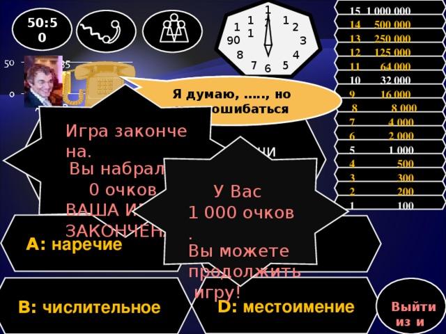 15 1 000 000 12 50:50 1 11 14 500 000 2 10 13 250 000 9 3 12 125 000 4 8 11 64 000 5 7 6           10 32 000 Я думаю, ….., но могу ошибаться Зал считает, ……., но зал может ошибаться 9 16 000 Игра закончена. Вы набрали: 0 очков. ВАША ИГРА ЗАКОНЧЕНА!  8 8 000 7 4 000 Вопрос: Какая часть речи самая малочисленная? 6 2 000 У Вас 1 000 очков. Вы можете продолжить игру! 5 1 000 4 500 3 300 2 200 1 100 A: наречие C: предлог D: местоимение B: числительное Выйти из игры