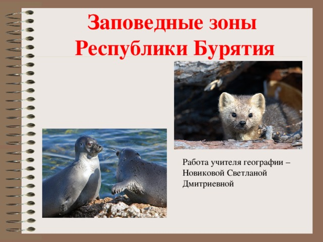 Заповедные зоны  Республики Бурятия Работа учителя географии – Новиковой Светланой Дмитриевной