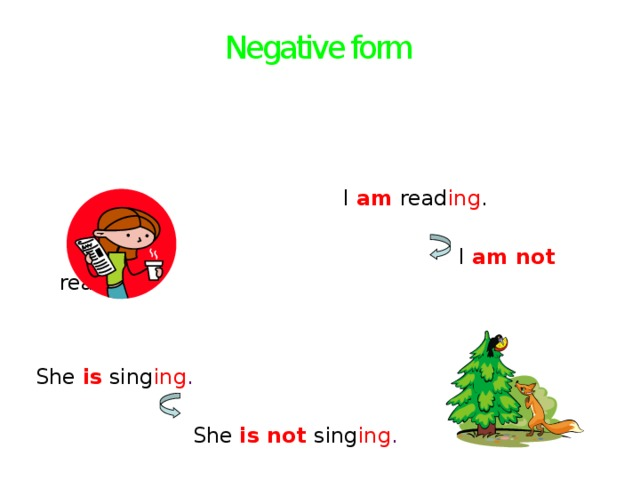 Negative form    I  am read ing .  I am not read ing . She is sing ing .  She is not  sing ing .