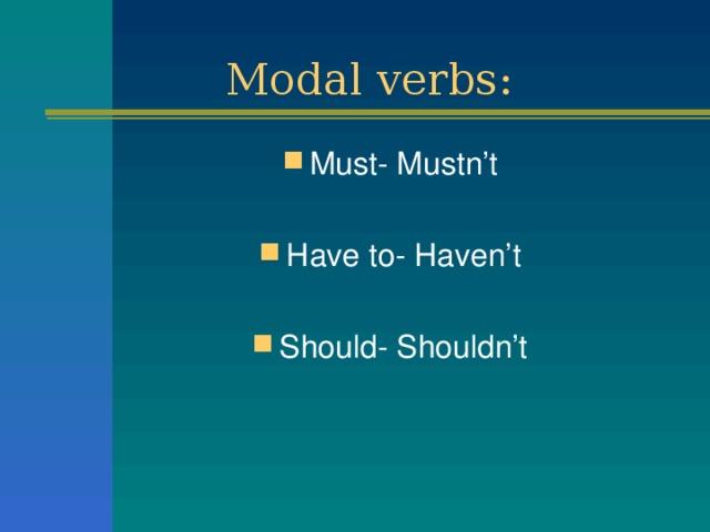 Modal verbs: