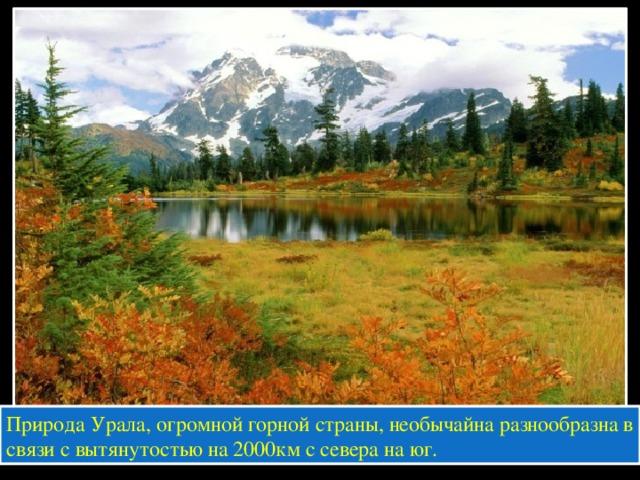 Природа Урала, огромной горной страны, необычайна разнообразна в связи с вытянутостью на 2000км с севера на юг.