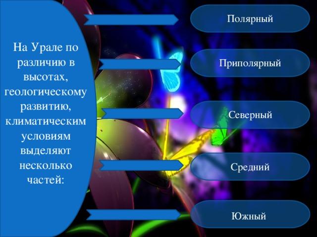 Полярный На Урале по различию в высотах, геологическому развитию, климатическим условиям выделяют несколько частей: Приполярный Северный Средний Южный