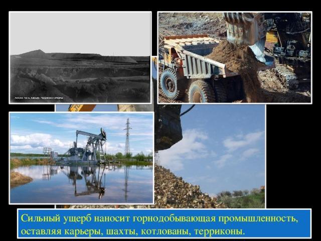 Сильный ущерб наносит горнодобывающая промышленность, оставляя карьеры, шахты, котлованы, терриконы.
