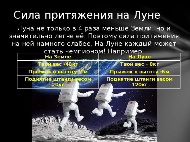 Сила притяжения на Луне Луна не только в 4 раза меньше Земли, но и значительно легче её. Поэтому сила притяжения на ней намного слабее. На Луне каждый может стать чемпионом! Например: На Земле На Луне Твой вес -48кг Твой вес – 8кг Прыжок в высоту -1м Прыжок в высоту -6м Поднятие штанги весом 20кг Поднятие штанги весом 120кг
