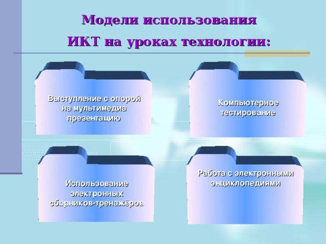 Модели использования  ИКТ на уроках технологии:    Выступление с опорой на мультимедиа презентацию Компьютерное тестирование  Работа с электронными энциклопедиями Использование электронных сборников-тренажёров