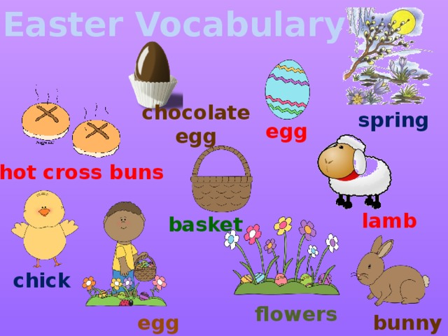 Easter Vocabulary chocolate egg spring egg hot cross buns lamb basket chick flowers egg hunt bunny