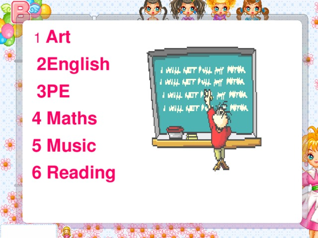 1 Art  2English  3PE  4 Maths  5 Music  6 Reading